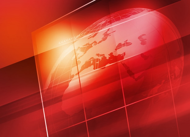 Earth globe inside big flat tv screen background Premium Photo