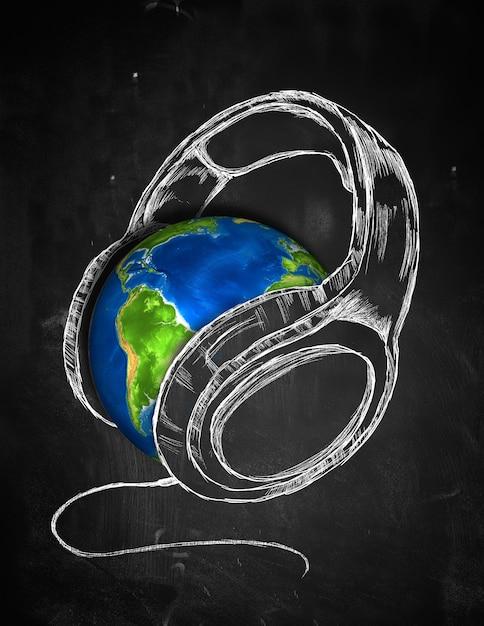 Earth Headphone music Background Free Photo