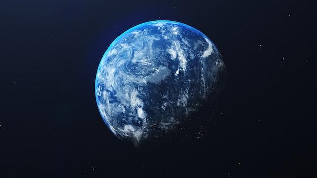 Земля в космосе с сияющим восходом солнца на фоне вселенной и галактики. концепция окружающей среды природы и мира. наука и земной шар. атмосфера фэнтезийного неба. 3d визуализация иллюстрации Premium Фотографии