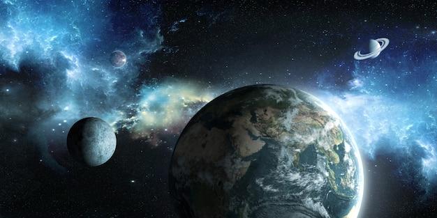 Земля, луна и солнце на фоне космического пространства в 3d иллюстрации Premium Фотографии