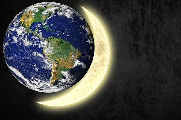 Earth next to the moon Free Photo