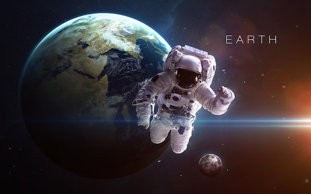 Earth in the space, 3d illustration. . Premium Photo