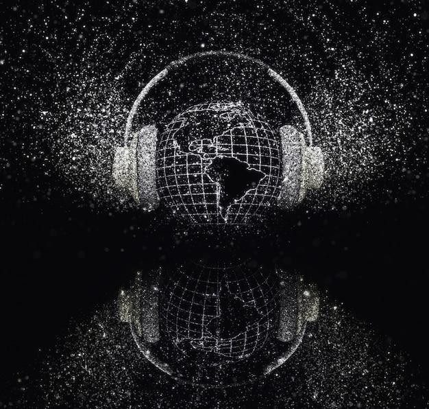 3d визуализации земного шара с наушниками с сверкающим эффектом на черном фоне Бесплатные Фотографии
