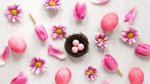 イースターエッグと花びら 無料写真