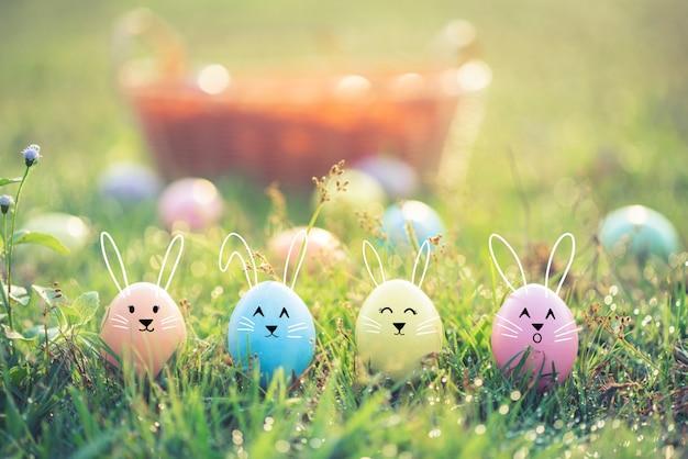 Easter eggs on green grass. Premium Photo