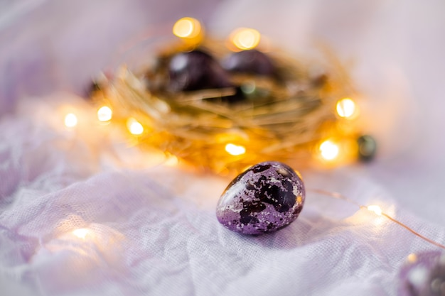 Easter eggs in a nest on a light wall surrounded by festive lights and light bulbs. Premium Photo