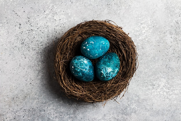 Easter eggs in nest painted by hand in blue Free Photo