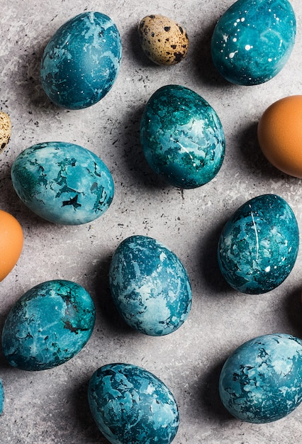 Easter eggs painted by hand in blue Free Photo