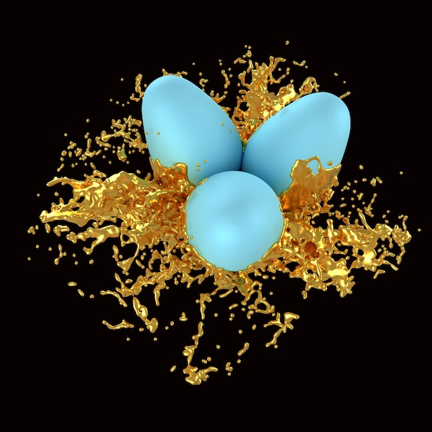 Easter eggs in splashes of gold paint Premium Photo