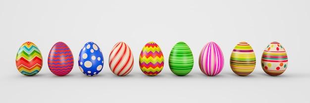 Easter eggs on a white background. easter eggs. 3d rendering illustration. Premium Photo