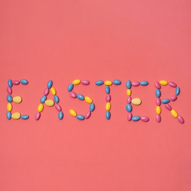 Easter inscription on red background Free Photo