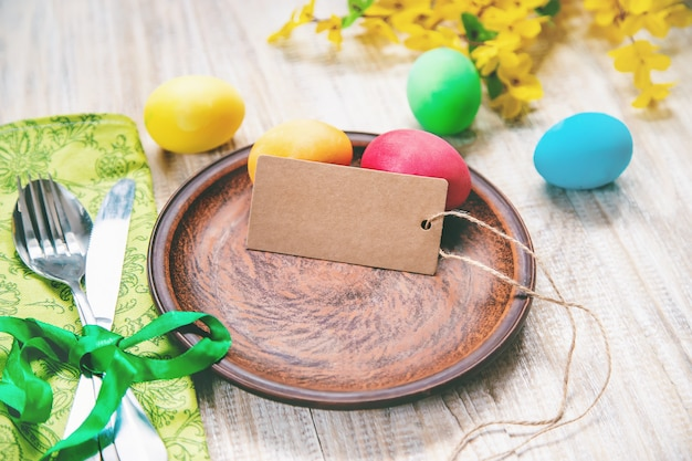 Easter photo. happy easter. eggs selective focus. Premium Photo