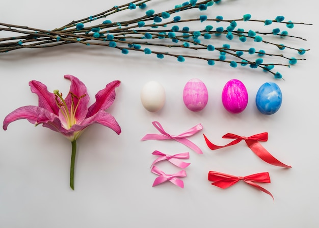 Easter set of colorful attributes Free Photo