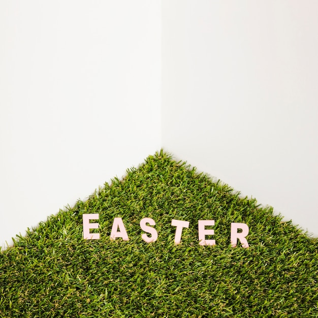 Easter word on artificial grass Free Photo