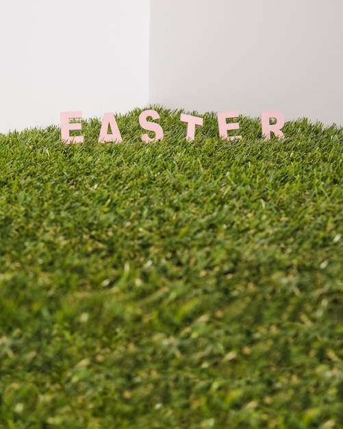 Easter word in grass Free Photo