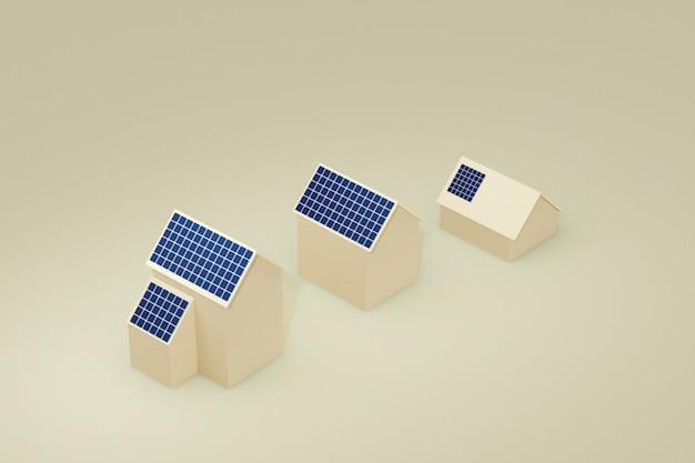 屋根の太陽電池パネルが付いているecoの建物の家、3d小話。 Premium写真
