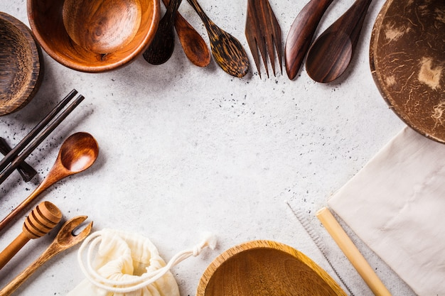 Eco friendly bamboo cutlery and dishes, copy space, zero waste concept. Premium Photo