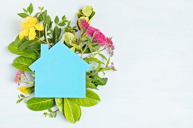 친환경 집, 새로운 국가 두 번째 거주 개념 프리미엄 사진