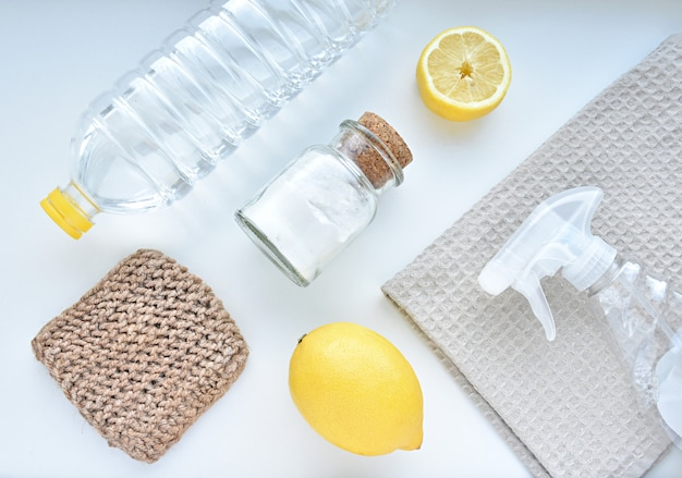 Eco friendly products for home cleaning, zero waste lifestyle. Premium Photo