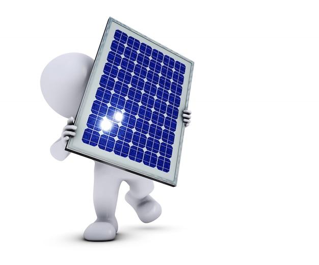 Uomo eco con un pannello solare Foto Gratuite