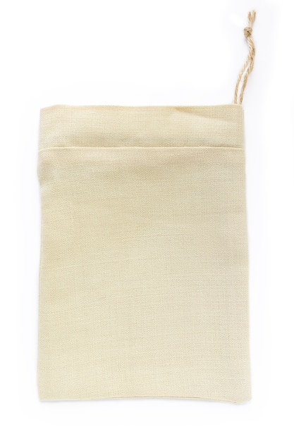 Eco natural cotton small sack bags, made of linen, mockup Premium Photo