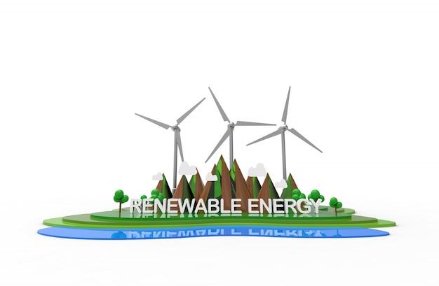 Eco nature landscape, renewable energy. Premium Photo
