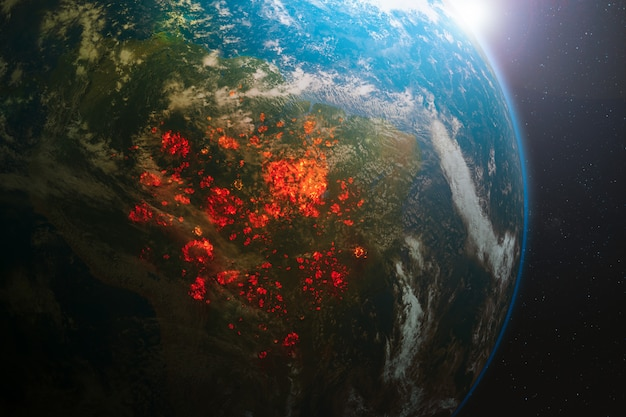 Ecological disaster of fires in the amazon, south america Premium Photo