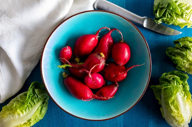 Ecological radishes (red radishes) of intense red color. close-up from above. ready for salad with lettuce. in blue dish. Premium Photo