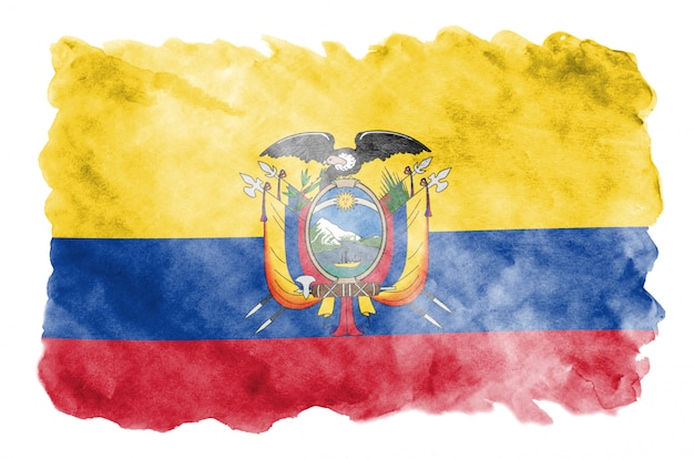 Ecuador flag  is depicted in liquid watercolor style isolated on white Premium Photo