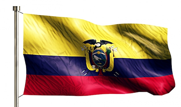 Ecuador national flag isolated 3d white background Free Photo