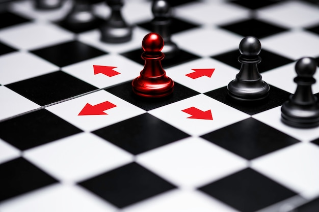 Ed pawn chess stepped out of line to show different thinking ideas and leadership. business technology change and disruption for new normal concept. Premium Photo