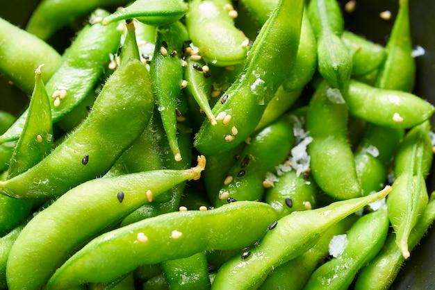 Edamame fresh soya beans close-up macro Premium Photo