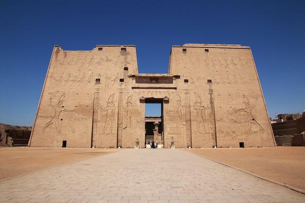Edfu temple on the nile river in egypt Premium Photo