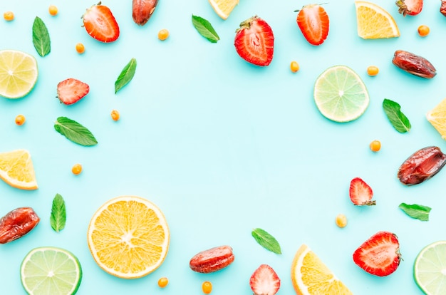 Edible flat lay on blue background Free Photo