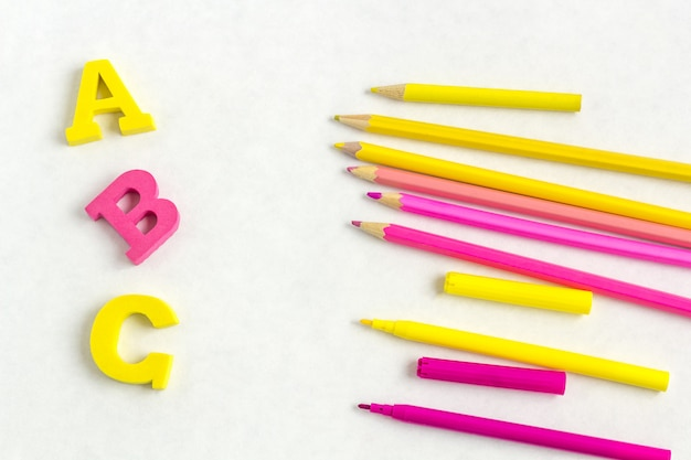 Education or back to school . colorfull school supplies on white Premium Photo