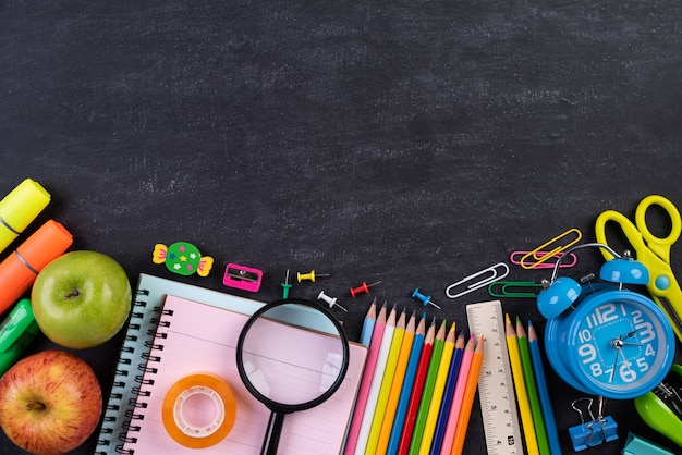 Education or back to school concept on chalkboard background Premium Photo