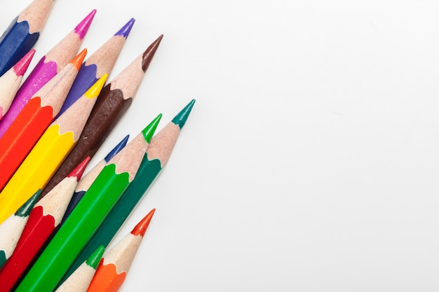 Education or back to school concept. close up macro shot of color pencil Premium Photo