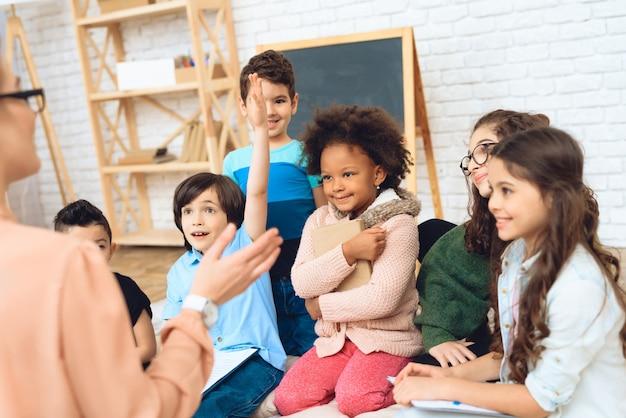 Education of children in elementary school. Premium Photo