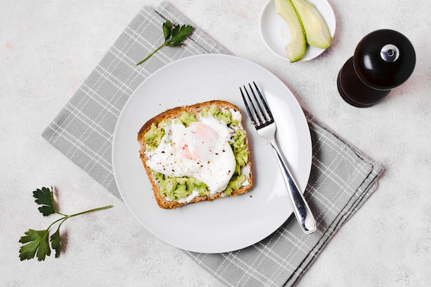 Egg with avocado toast on plate Free Photo