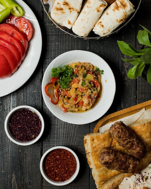Eggplant caviar with lule kebab Free Photo