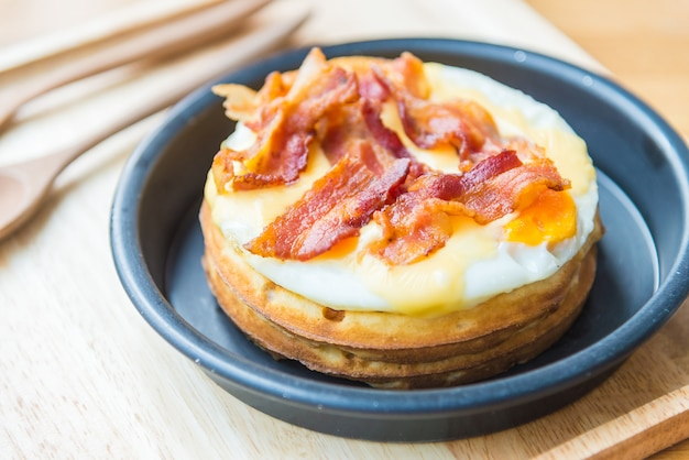 Eggs and bacon waffles Free Photo