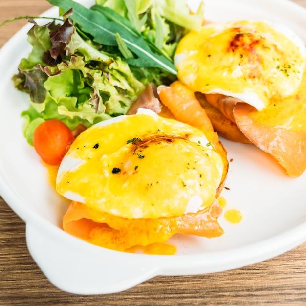 Eggs benedict with smoked salmon Free Photo