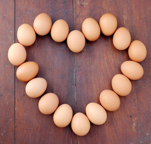 Eggs, heart shape Premium Photo