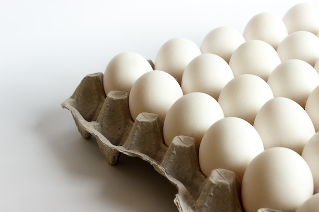 Eggs in the package, white eggs in pack on white background Premium Photo