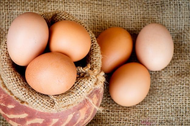 Eggs in pot Premium Photo