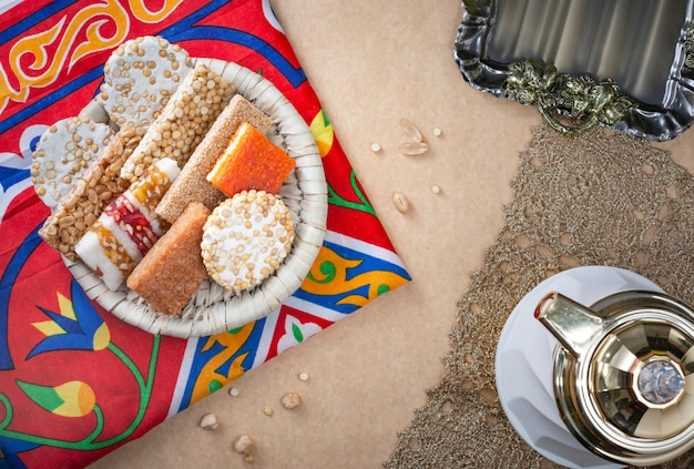 Egyptian prophet muhammad birthday celebration desserts Premium Photo