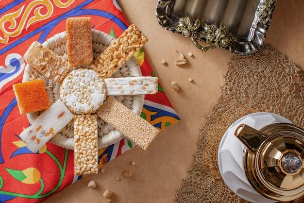 Egyptian prophet muhammad birthday celebration sweets Premium Photo