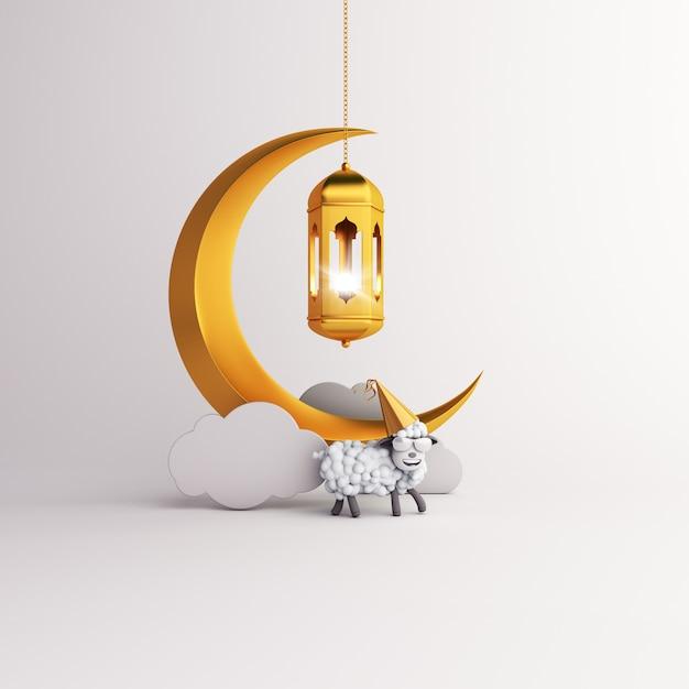 Eid al adha mubarak background with lantern crescent and sheep Premium Photo