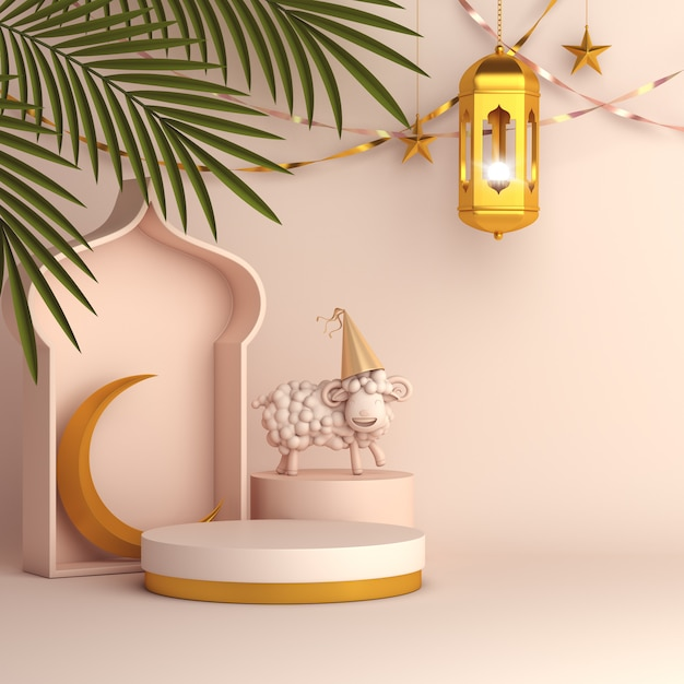 Eid al adha mubarak background with palm leaves lantern crescent and sheep Premium Photo