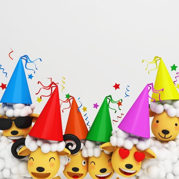 Eid al adha mubarak background with sheep party cone hat Premium Photo